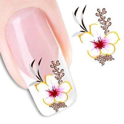 Nail Art Water Decals Stickers Transfers Deep Purple Flowers Gel Polish (1551)