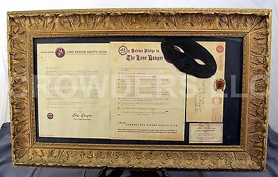 1938 Lone Ranger Safety Club Admission Letter Pledge Mask Pin & Membership Card