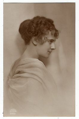 Pretty Young Lady Old Glamour Real Photo Head Study Postcard