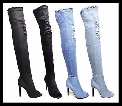 Womens Distressed Denim Over Knee Boots Stiletto High Heel Peep Toe Ladies Shoes