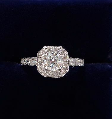 0.98ct Diamond Halo Engagement Ring in 18ct White Gold - Size M