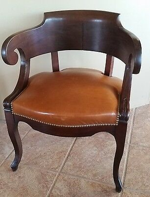 French LOUIS PHILIPPE Mahogany & Leather ANTIQUE ARMCHAIR circa 1890