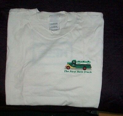The First Hess Toy Truck Green Logo On Back White Cotton T-Shirt Tee Sz  L