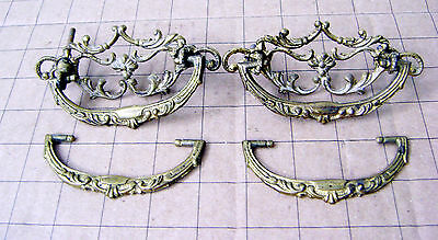 2 Vintage Ornate Brass Drawer Pulls with 2 Extra Handles