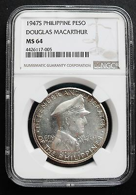 1947-S Philippines Peso , NGC MS 64 , nice silver coin -