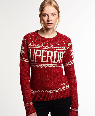 New Womens Superdry Bashful Knit Jumper Holly Red