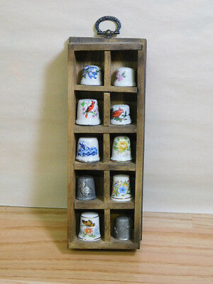 vintage Assortment of 10 Thimbles with wooden Display Case