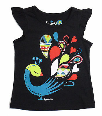 Sprockets Toddler Girls Tee Shirt t Graphic Top Sleeve Cotton Balck 2t 3t 4t nwt