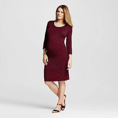 Liz Lange Maternity Dress Berry Blue Striped Large NWT