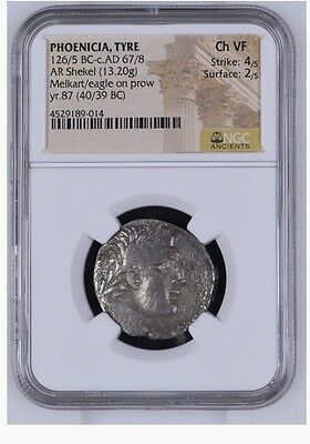 "PHOENICIA, Tyre. 126/5 BC-AD 65/6. AR Shekel ""thirty pieces of silver"" NGC Ch VF"