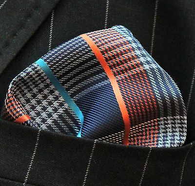 Hankie Pocket Square Handkerchief Blue & Orange Tartan