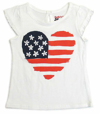 Baby Girls Tee Shirt t Top 4th of July American Flag Heart 12 -24M nwt