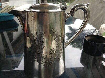 Silver plated coffee pot engraved with daffodils and marked EPBM  England 4061
