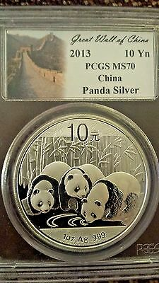 2013 China Silver 1 OZ. Panda S10Y 10 Yuan PCGS MS70 GREAT WALL LABEL Coin