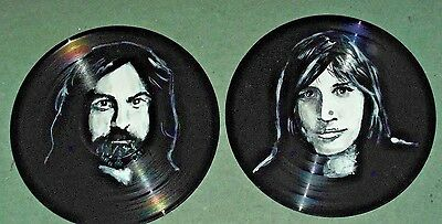 PINK FLOYD,set of 4  HAND PAINTED  12 INS VINYL DISCS  READY TO HANG c