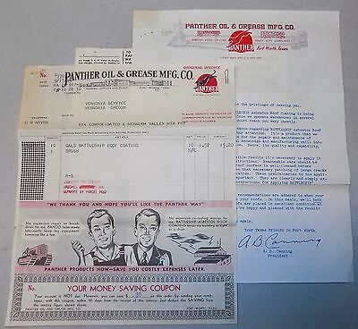 PANTHER OIL & GREASE CO illustrated business letterhead 1919 Texas advertising