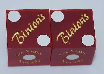 Casino Dice - Binions Hotel Pair Used Matched Dice Las Vegas Nv Free Shipping *