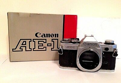 Canon AE-1 35mm SLR Film Camera Body Only W/ Box and Instructions