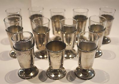 Mexico CH TAXCO Sterling Silver Liquor Shot Cordial Glasses - Set of 12