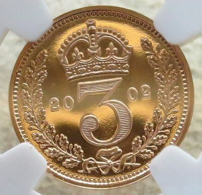 "2002 Gold Great Britain 3 Pence ""maundy"" Ngc Proof 69 Ultra Cameo 2,002 Minted"