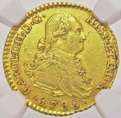 1793 M Mf Gold Spain Escudo Charles Iv Coin Ngc About Uncirculated 53