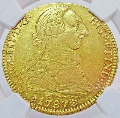 1787 S Cm/ Cf Gold Spain 4 Escudos Charles Iii Coin Madrid Mint Ngc About Unc 50
