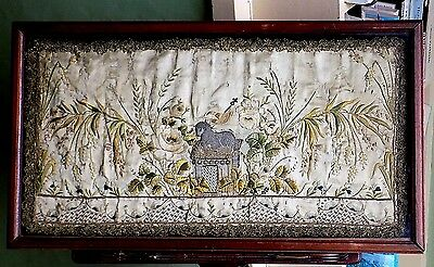 17thC? Antique Embroidery Stumpwork Lamb of God Silk Picture Religion Agnus Dei