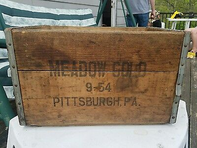 Vintage Wood Crate Box MEADOW GOLD 9-54 Pittsburgh PA