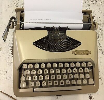 Vintage Singer Graduate Typewriter With Case  Made In Holland Post PU Gold Coast