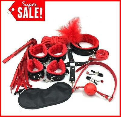 10 pcs Adult Bondage Kit Roleplay Set Cuff Whip Holster Restraint Valentines Day