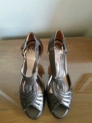 Gently worn Sofft bronze leather open toe heels US women size 11M.