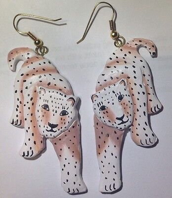 Leopard Earrings Vintage Jewelry Womens Drop Fashion Cats Estate Big Collectible