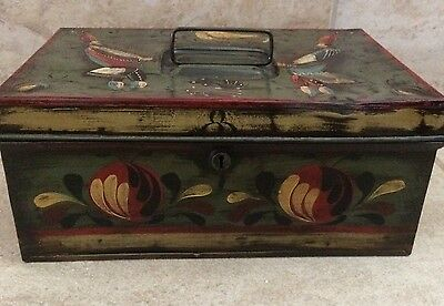 Beautiful Antique Hand Painted Antique  Tin Cash Box- Peter Ompir Style
