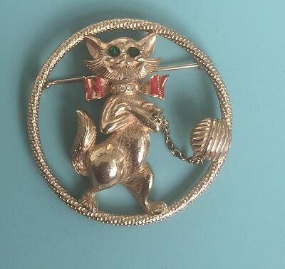 Unique Vintage Cat With Bow And Yarn Ball In Circle Brooch