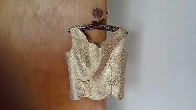 Vintage 1950s Cocktail/Evening Shell Top - Metallic Gold - Size 10