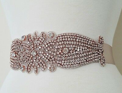 Wedding Dress Sash Belt - ROSE GOLD Crystal Sash Belt = 10 1/2 inch long