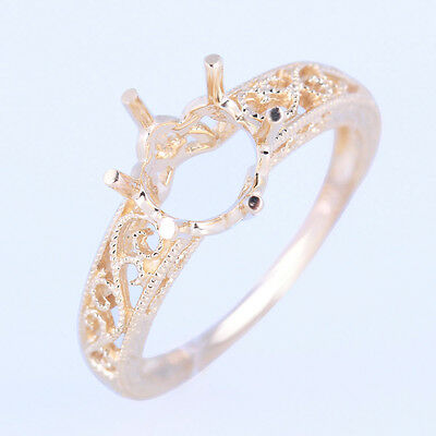 8MM ROUND CUT ENGAGEMENT FILIGREE RING SEMI MOUNT SETTING SOLID 10K Yellow GOLD