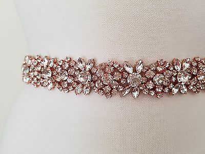 Wedding Dress Sash Belt - ROSE GOLD CRYSTAL Sash Belt = 19 inch long