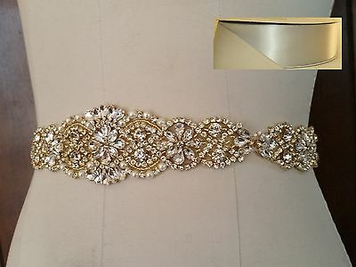 "Wedding Dress Sash Belt -  Gold Crystal Pearl Sash Belt = 14 1/2"" long = SILVER"