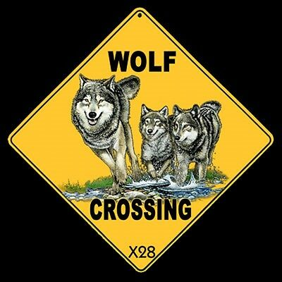 WOLF- WOLVES Crossing Sign, 12 by 12 on sides, 16 inches on Diagonal  Metal