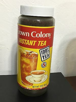Vintage Crown colony Instant ICED TEA  Glass Jar Safeway 1990s USA