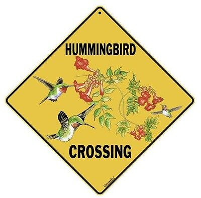 "HUMMINGBIRD-B Crossing Sign, 12"" on sides, 16"" on Diagonal, Aluminum, In/Ourdoor"