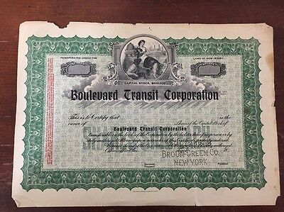Stock Certificate Boulevard Transit Corp New Jersey Unsigned
