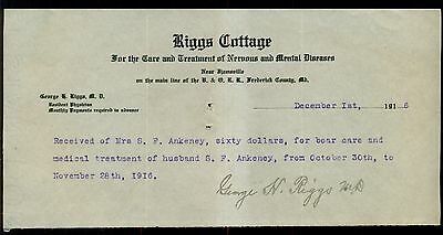 1916 Ijamsville,MD-Riggs Cottage Treatment of Nervous & Mental Diseases Receipt