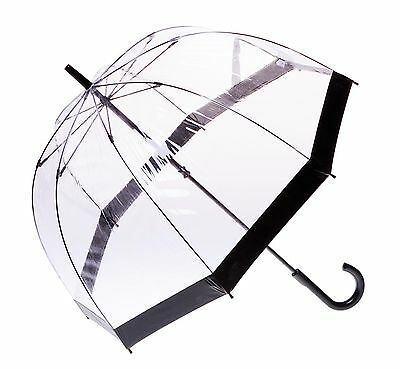 Clifton Clear Dome PVC Birdcage Black Border Umbrella