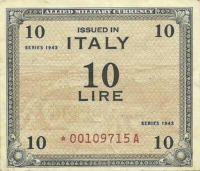 Italy 1943 10 Lire Amc ~ Star Replacement Note Pm-13* ~ Allied Military Currency