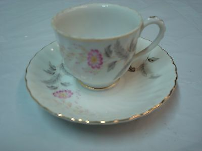 Vintage Beautiful Bone China Tea Cup and Saucer, Unmarked Demitasse