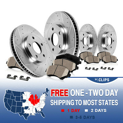 Front & Rear DRILLED SLOTTED BRAKE ROTORS AND CERAMIC PADS Grand Cherokee WJ