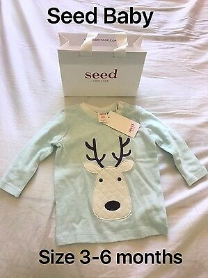 Seed Baby Reindeer Long Sleeves Shirt Ice Blue Colour Size 00