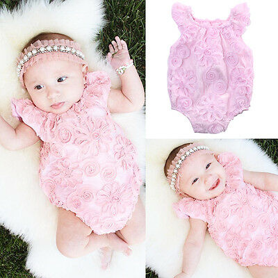 Infant Baby Girl Lace Floral Romper Jumpsuit Sunsuit Outfits Clothes US Stock